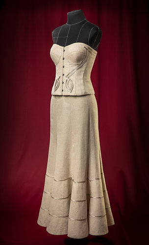 Corset and skirt made of linen with decor