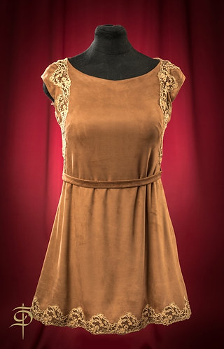 Платье из эко-замши с отделкой кружевом  DressTheatre Couture by Dora Blank