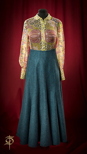 Double-sided long dark turquoise wool skirt DressTheatre Couture