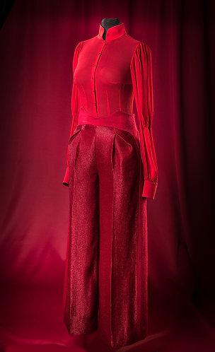 Брюки брусничные из шерсти с люрексом.   DressTheatre Couture by Dora Blank