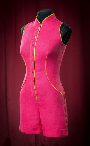 Комбинезон из льна фуксия. DressTheatre Couture by Dora Blank
