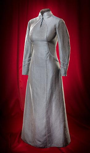 Платье льняное с  кружевом серо-голубое.  DressTheatre Couture by Dora Blank