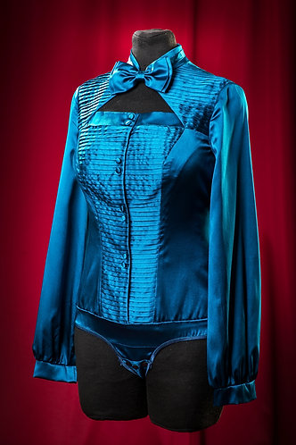 Body blouse made of satin silk with folds. DressTheatre Couture by Dora Blank