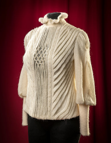 Knit wool blouse with folds and lace DressTheatre Couture