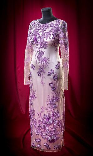 Платье кружевное с росшивом на сетке. DressTheatre Couture by Dora Blank