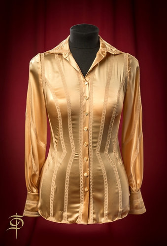 Blouse made of golden satin silk with lace DressTheatre Couture