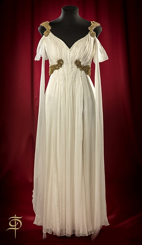 White chiffon wedding dress with drappings and lace decor DressTheatre Couture