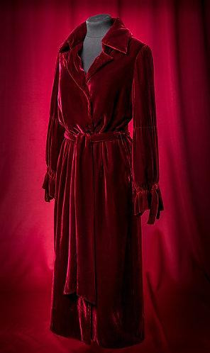 Пальто бордовое из шелкового бархата длинное. DressTheatre Couture by Dora Blank