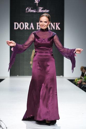 Evening dress made of satin silk with organza.