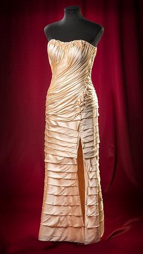 Корсетное платье из атласного шелка со съемным низом.