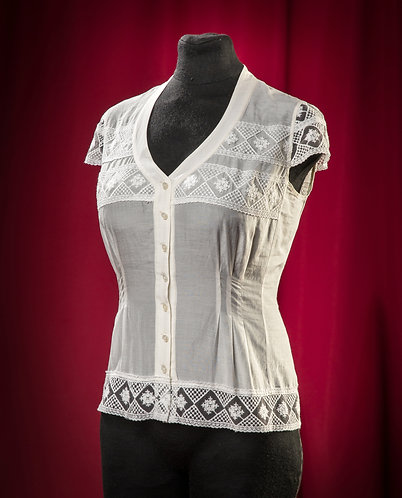 Blouse made of silk muslin with lace DressTheatre Couture