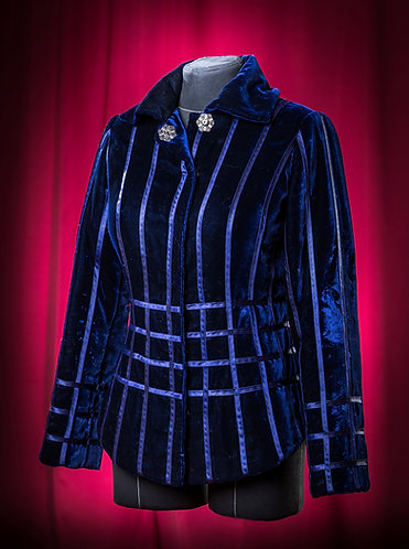 Телогрейка синяя из бархата. DressTheatre Couture by Dora Blank