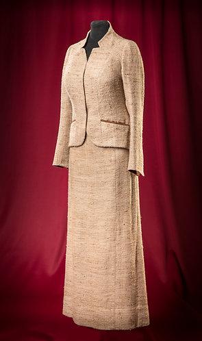 Костюм из дикого льна с отделкой замшей.  DressTheatre Couture by Dora Blank
