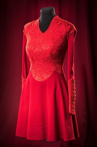 Платье из жаккарда и шерсти с декором из пуговиц.   DressTheatre Couture