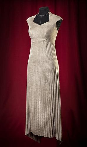 Сарафан серебристый из экозамши с гофре.    DressTheatre Couture by Dora Blank