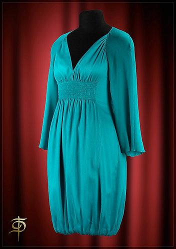 Платье бирюзовое из шифона на шелковом подкладе.  DressTheatre Couture