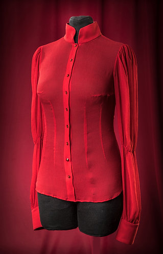 Blouse made of chiffon with Swarovski buttons DressTheatre Couture