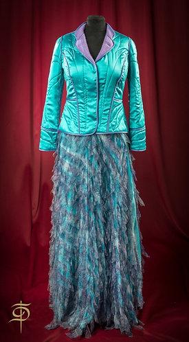 Blue long skirt with chiffon decor DressTheatre Couture