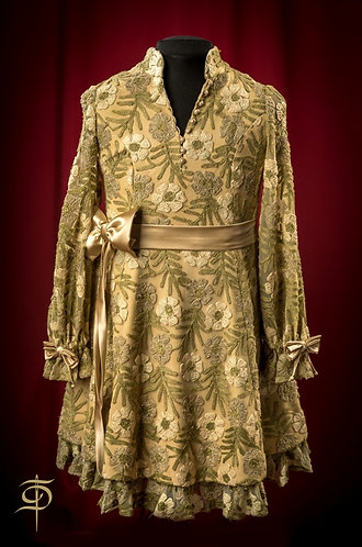 Lace dress with silk decoration and belt DressTheatre Couture