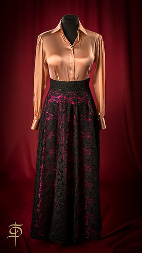 Long black lace skirt with contrasting fuchsia lining DressTheatre Couture