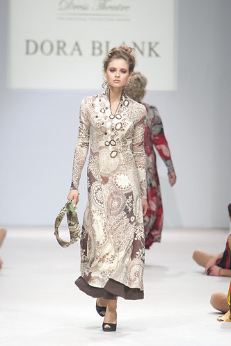 Dress made of woolen knitwear Etro with lace trim