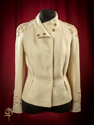 Milk-colored wool jacket with lace decor on the buttons DressTheatre Couture