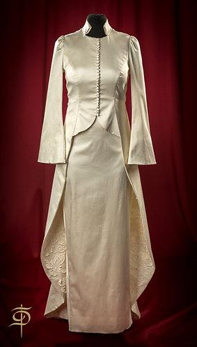 Silk satin wedding dress with lace decor DressTheatre Couture