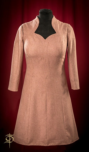 Powder-pink wool dress with figured cuts DressTheatre Couture