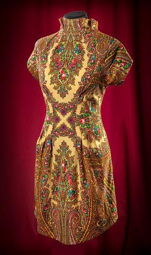Платье из Павлопосадского платка с отделкой шелком.   DressTheatre Couture