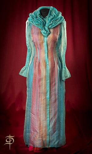 Turquoise organza cape with removable decor DressTheatre Couture