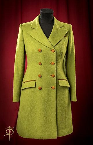 Пальто зеленой из кашемира с отделкой замшей DressTheatre Couture by Dora Blank