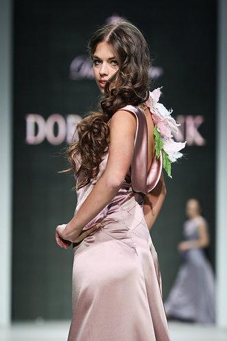 Evening dress made of satin silk with organza