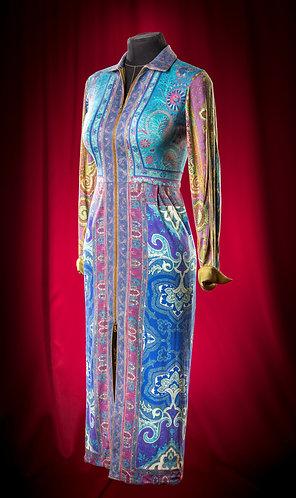 Платье трикотажное с отделкой шелком. DressTheatre Couture by Dora Blank