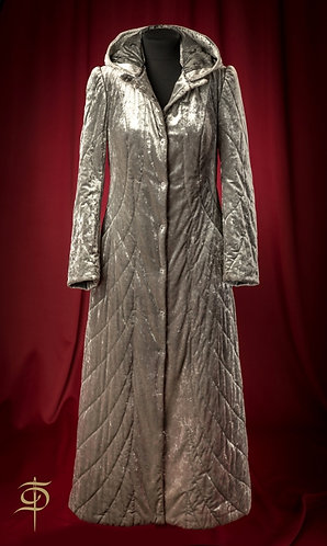 Gray quilted velvet long coat DressTheatre Couture