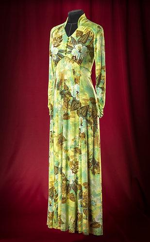 Платье трикотажное с растительным рисунком и шнуровкой .  DressTheatre