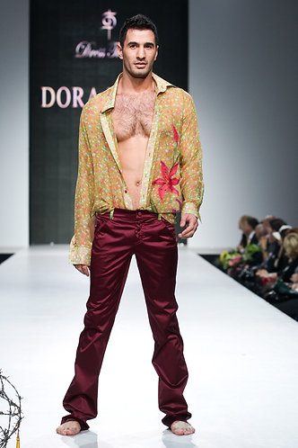 Men's chiffon blouse, streched cotton with silk trousers