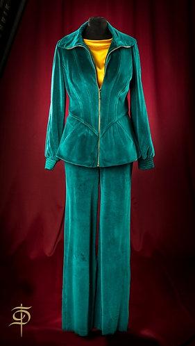 Sports velvet suit with a figure cut at the waist DressTheatre Couture