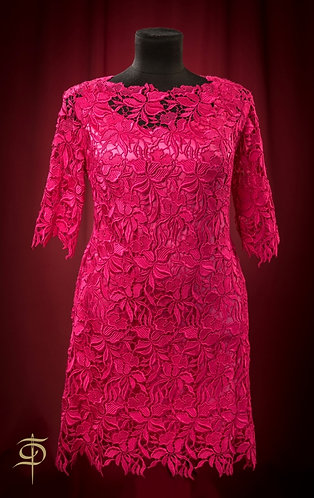 Платье фуксия из кружева DressTheatre Couture by Dora Blank