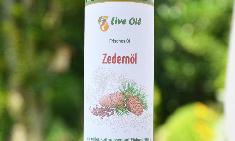 100% cedar oil. Live Swiss. Squeezed on the oak press.