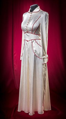 Платье шелковое с красными кантами. DressTheatre Couture by Dora Blank