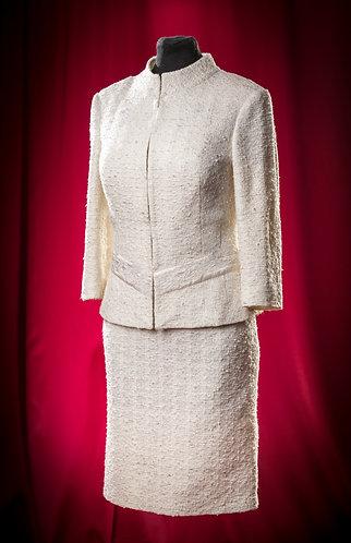 Костюм бежевый: жакет и сарафан из жаккарда. DressTheatre Couture by Dora Blank