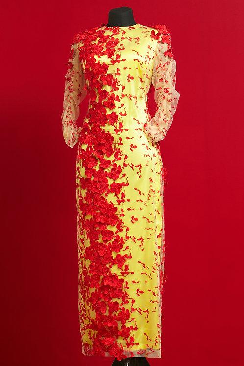 Вечернее платье из роскошного шелкового гипюра JoseMariaRuiz на шелковом чехле