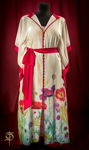 Set: dress and cape with silk decor and belt DressTheatre Couture