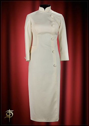 Milk dress from the wool Holland&Sherry, historical cut. DressTheatre Couture