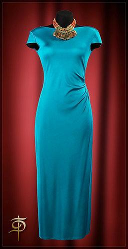 Платье бирюзовое из шелкового трикотажа.   DressTheatre Couture by Dora Blank