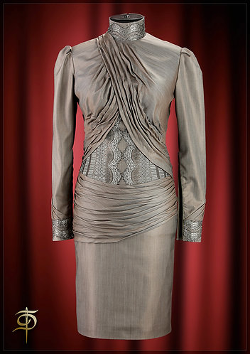 A dress-corset made of wool with silk with drapery and lace. DressTheatre Coutur
