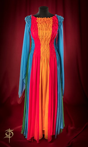 Colorful chiffon long dress with draperies DressTheatre Couture