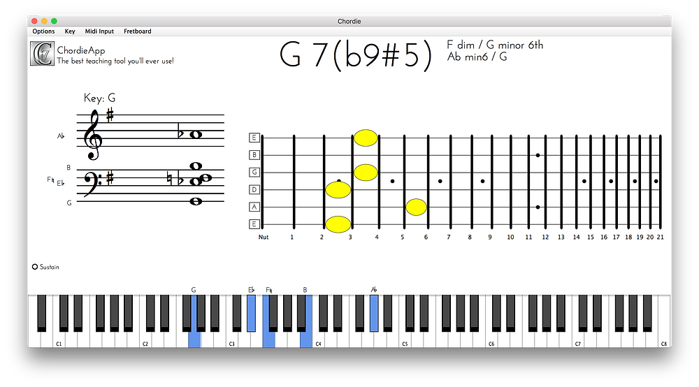 The Chordie app in operation, including notes on a musical stave, guitar fretboard and virtual keyboard