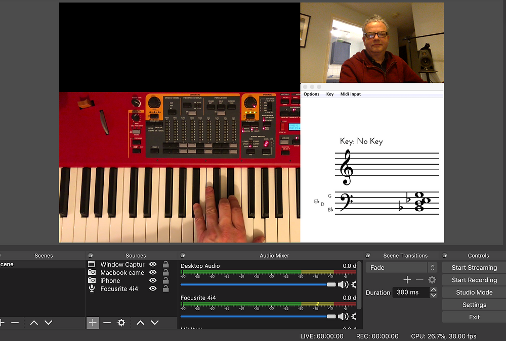 image of OBS software showing a piano keyboard alongside notation and the face of the music teacher