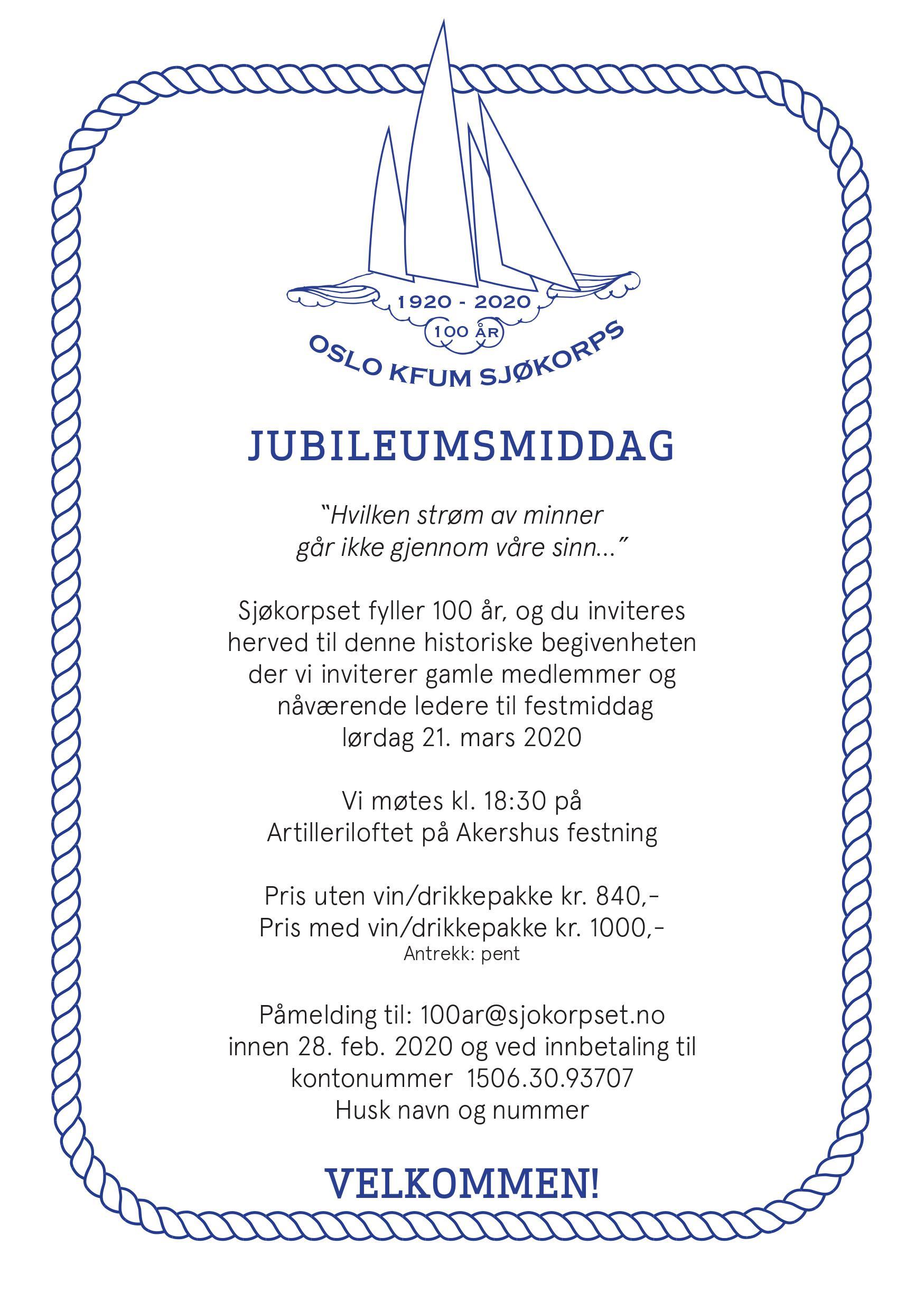 Invitasjon SK 100 år - kveld
